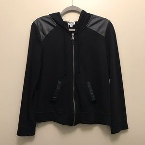2 for $50Splendid Zip Up Sweater with Faux Leather